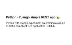 Python - Django simple REST app picture